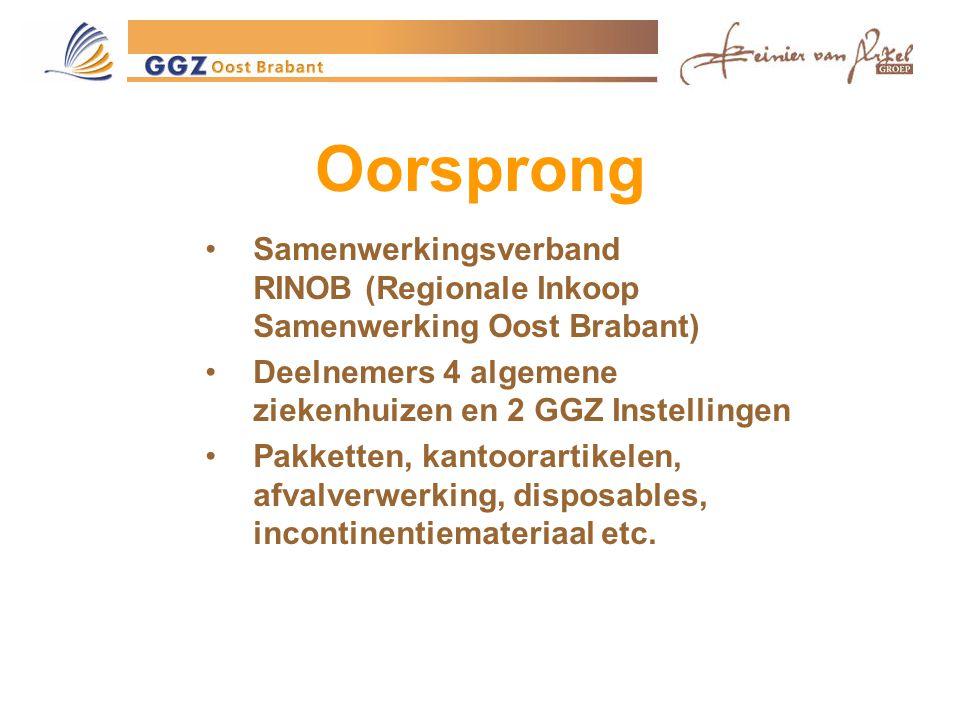 Oorsprong Samenwerkingsverband RINOB (Regionale Inkoop Samenwerking Oost Brabant) Deelnemers 4 algemene ziekenhuizen en 2 GGZ Instellingen Pakketten, kantoorartikelen, afvalverwerking, disposables, incontinentiemateriaal etc.