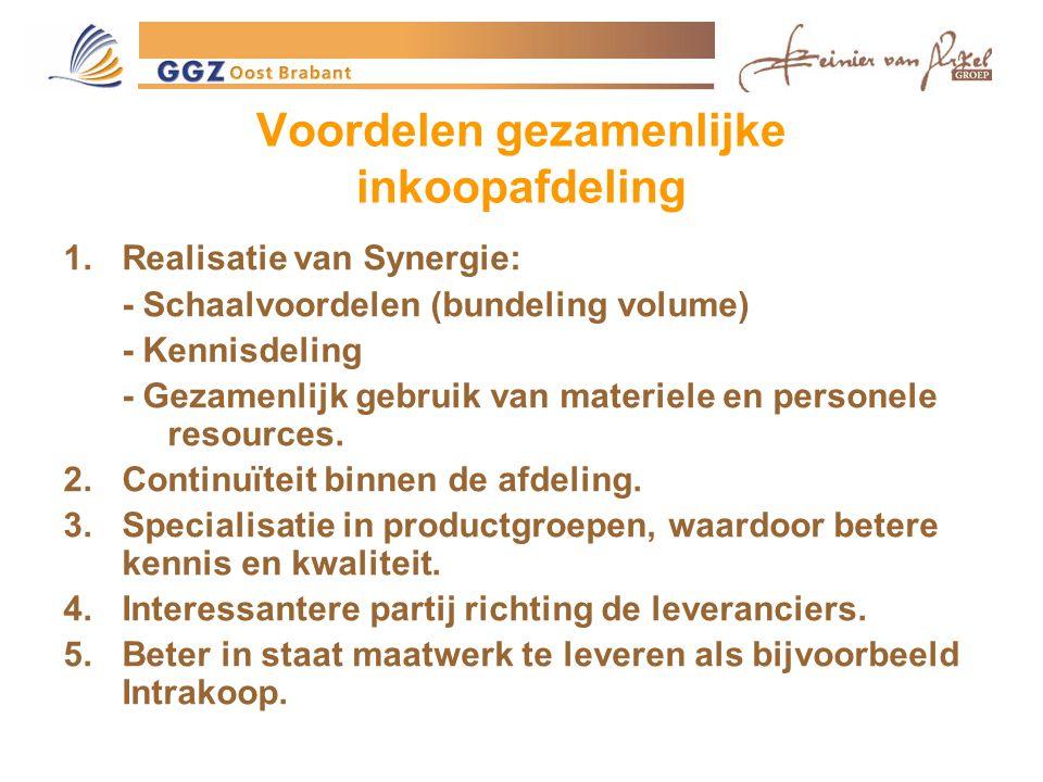 Voordelen gezamenlijke inkoopafdeling 1.Realisatie van Synergie: - Schaalvoordelen (bundeling volume) - Kennisdeling - Gezamenlijk gebruik van materiele en personele resources.
