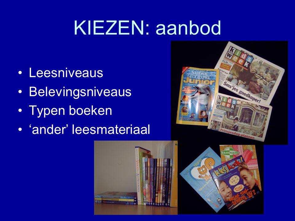 KIEZEN: aanbod Leesniveaus Belevingsniveaus Typen boeken 'ander' leesmateriaal