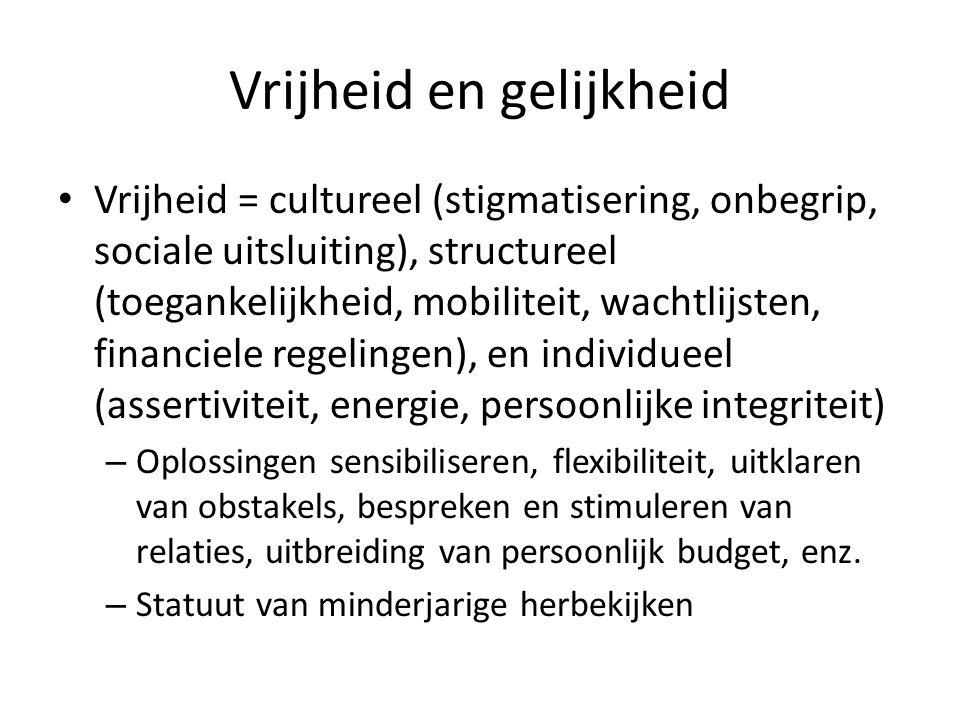Vrijheid en gelijkheid Vrijheid = cultureel (stigmatisering, onbegrip, sociale uitsluiting), structureel (toegankelijkheid, mobiliteit, wachtlijsten, financiele regelingen), en individueel (assertiviteit, energie, persoonlijke integriteit) – Oplossingen sensibiliseren, flexibiliteit, uitklaren van obstakels, bespreken en stimuleren van relaties, uitbreiding van persoonlijk budget, enz.