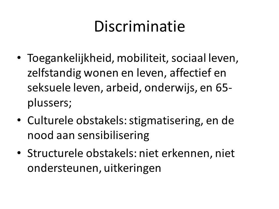 Discriminatie Toegankelijkheid, mobiliteit, sociaal leven, zelfstandig wonen en leven, affectief en seksuele leven, arbeid, onderwijs, en 65- plussers; Culturele obstakels: stigmatisering, en de nood aan sensibilisering Structurele obstakels: niet erkennen, niet ondersteunen, uitkeringen