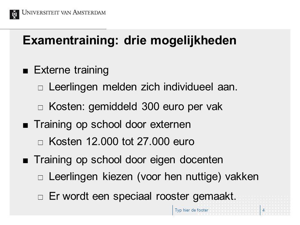Examentraining: drie mogelijkheden Externe training  Leerlingen melden zich individueel aan.  Kosten: gemiddeld 300 euro per vak Training op school