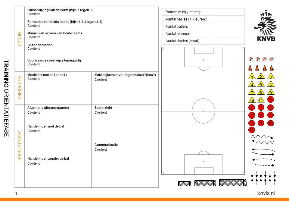 1 Ruimte (x bij y meter): Aantal hesjes (+ kleuren): Aantal ballen: Aantal pionnen: Aantal doelen (soort): INHOUD Omschrijving van de vorm (bijv. 7 te