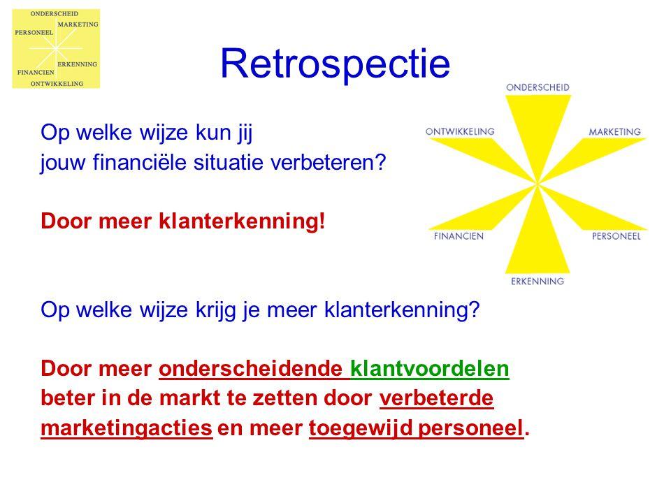 Retrospectie Op welke wijze kun jij jouw financiële situatie verbeteren? Door meer klanterkenning! Op welke wijze krijg je meer klanterkenning? Door m