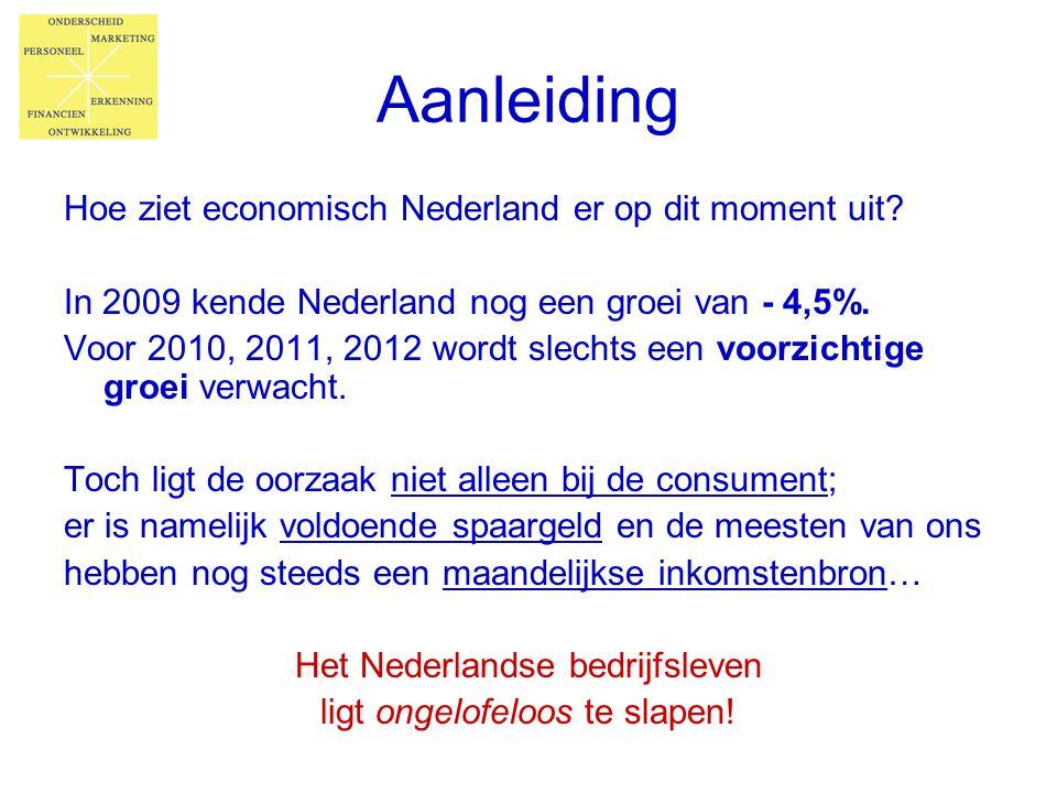 Aanleiding Hoe ziet economisch Nederland er op dit moment uit? In 2009 kende Nederland nog een groei van - 4,5%. Voor 2010, 2011, 2012 wordt slechts e