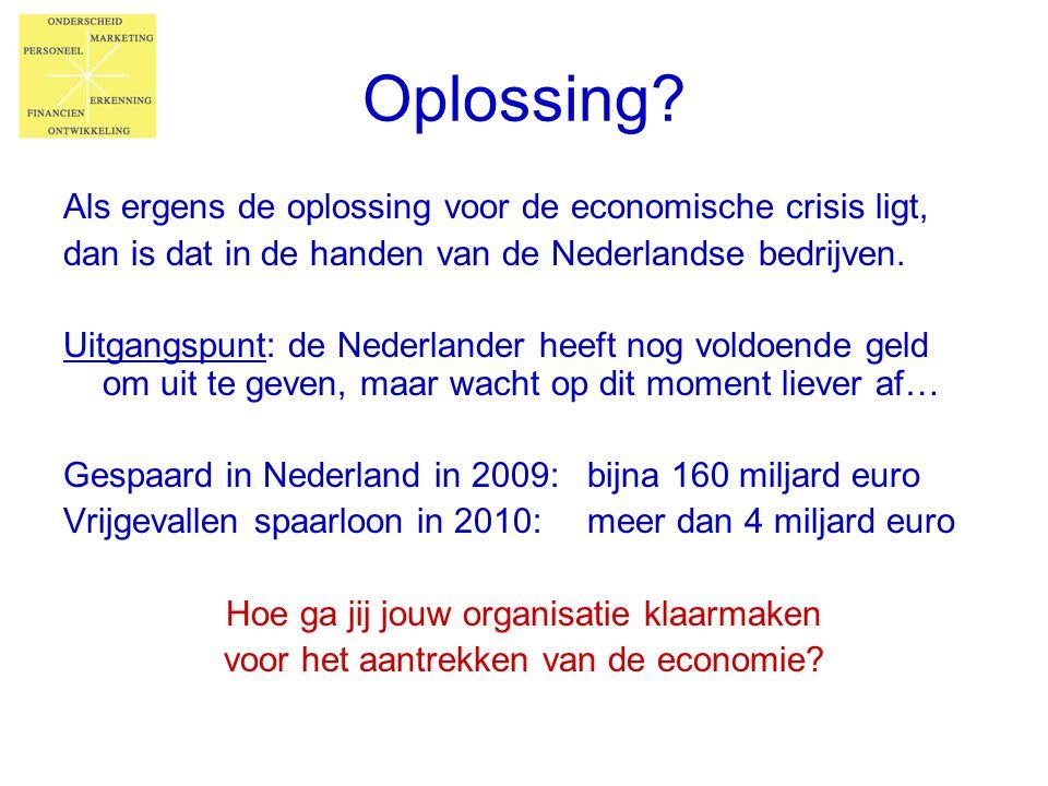 Oplossing? Als ergens de oplossing voor de economische crisis ligt, dan is dat in de handen van de Nederlandse bedrijven. Uitgangspunt: de Nederlander