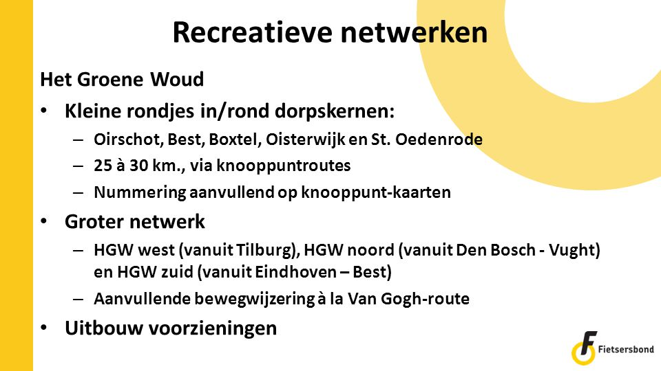 Recreatieve netwerken Het Groene Woud Kleine rondjes in/rond dorpskernen: – Oirschot, Best, Boxtel, Oisterwijk en St. Oedenrode – 25 à 30 km., via kno