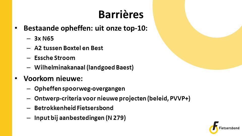 Barrières Bestaande opheffen: uit onze top-10: – 3x N65 – A2 tussen Boxtel en Best – Essche Stroom – Wilhelminakanaal (landgoed Baest) Voorkom nieuwe: