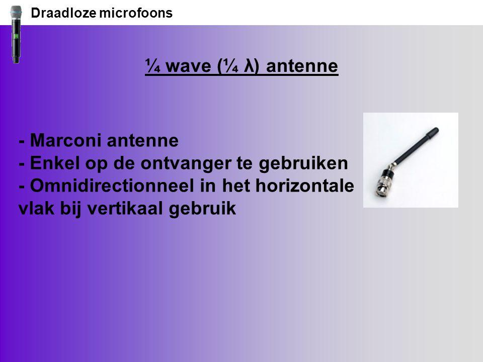 Draadloze microfoons ¼ wave (¼ λ) antenne - Marconi antenne - Enkel op de ontvanger te gebruiken - Omnidirectionneel in het horizontale vlak bij vertikaal gebruik