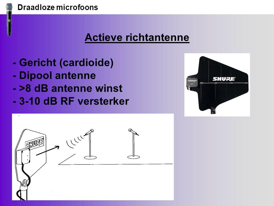 Draadloze microfoons Actieve richtantenne - Gericht (cardioide) - Dipool antenne - >8 dB antenne winst - 3-10 dB RF versterker