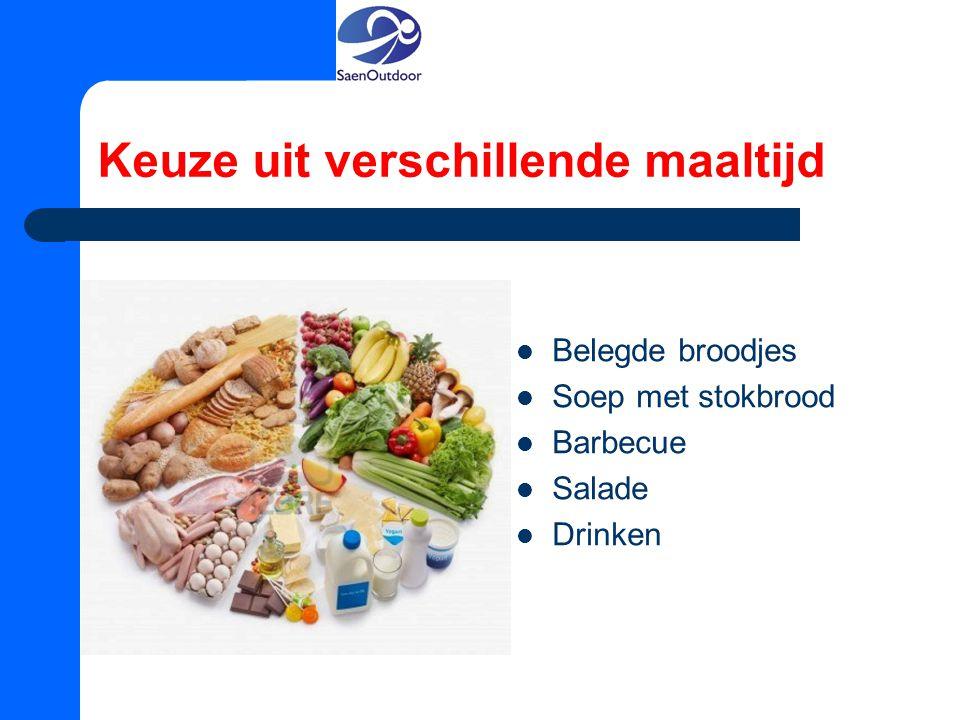Keuze uit verschillende maaltijd Belegde broodjes Soep met stokbrood Barbecue Salade Drinken