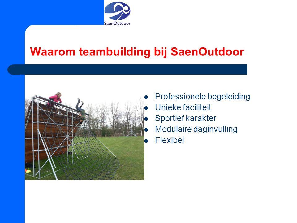 Waarom teambuilding bij SaenOutdoor Professionele begeleiding Unieke faciliteit Sportief karakter Modulaire daginvulling Flexibel