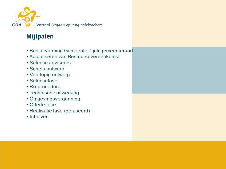 Mijlpalen Besluitvorming Gemeente 7 juli gemeenteraad Actualiseren van Bestuursovereenkomst Selectie adviseurs Schets ontwerp Voorlopig ontwerp Select
