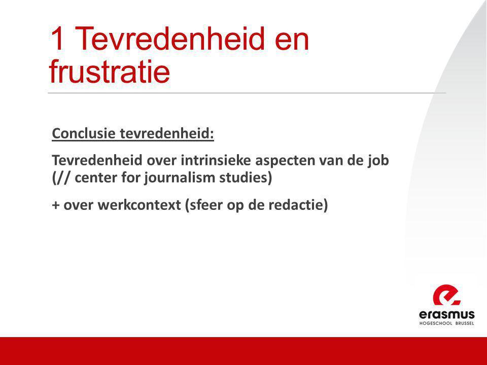 1 Tevredenheid en frustratie Conclusie tevredenheid: Tevredenheid over intrinsieke aspecten van de job (// center for journalism studies) + over werkcontext (sfeer op de redactie)
