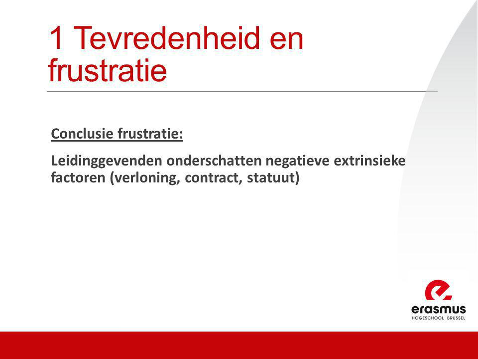 1 Tevredenheid en frustratie Conclusie frustratie: Leidinggevenden onderschatten negatieve extrinsieke factoren (verloning, contract, statuut)