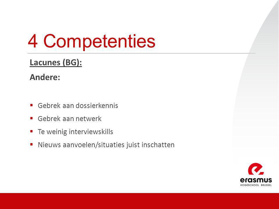 4 Competenties Lacunes (BG): Andere:  Gebrek aan dossierkennis  Gebrek aan netwerk  Te weinig interviewskills  Nieuws aanvoelen/situaties juist in