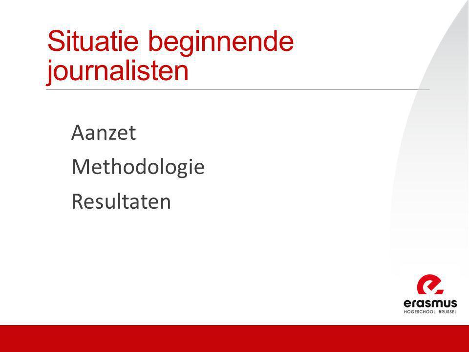 Onderzoeksitems Leidinggevende + beginnende journalisten over: 1.Jobtevredenheid/frustraties beginnende journalisten 2.Werkdruk op redactie 3.Ondersteuning 4.Competenties beginnende journalisten (+ Beginners: Verloning en toekomstbeeld)