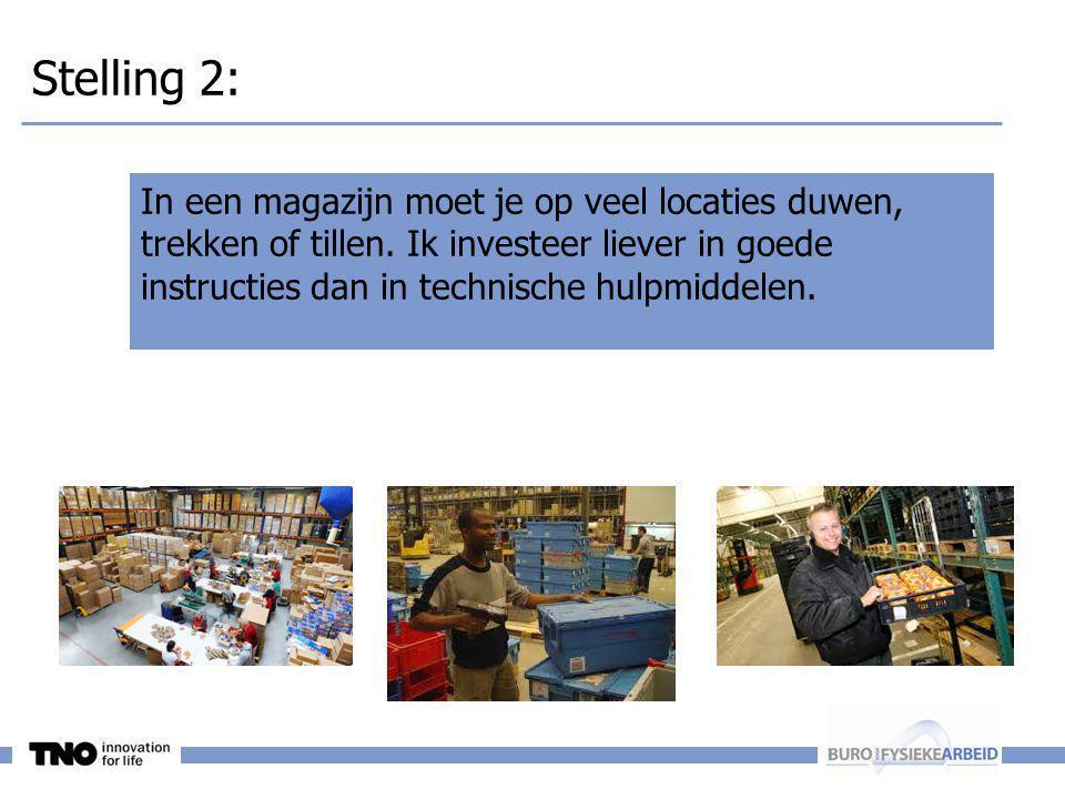 Stelling 2: In een magazijn moet je op veel locaties duwen, trekken of tillen. Ik investeer liever in goede instructies dan in technische hulpmiddelen