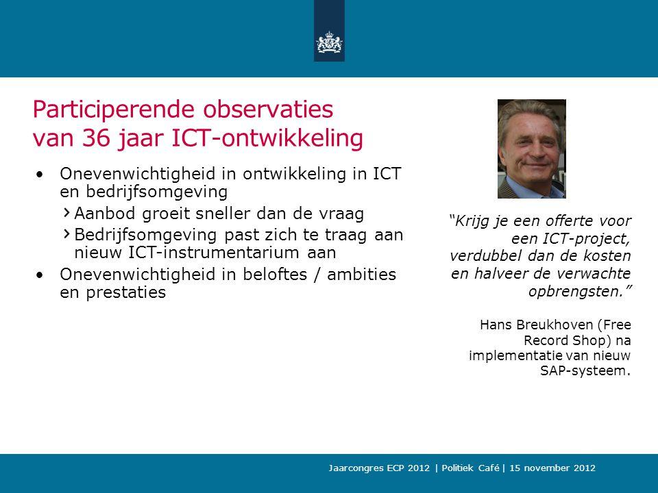 Participerende observaties van 36 jaar ICT-ontwikkeling Onevenwichtigheid in ontwikkeling in ICT en bedrijfsomgeving Aanbod groeit sneller dan de vraag Bedrijfsomgeving past zich te traag aan nieuw ICT-instrumentarium aan Onevenwichtigheid in beloftes / ambities en prestaties Krijg je een offerte voor een ICT-project, verdubbel dan de kosten en halveer de verwachte opbrengsten. Hans Breukhoven (Free Record Shop) na implementatie van nieuw SAP-systeem.