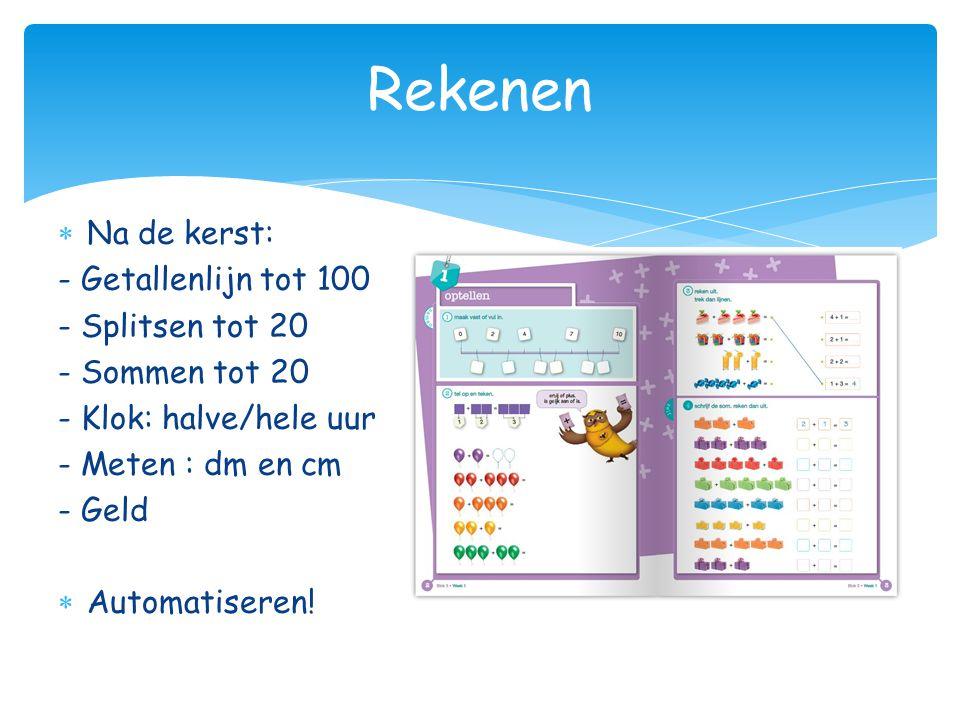 Rekenen  Na de kerst: - Getallenlijn tot 100 - Splitsen tot 20 - Sommen tot 20 - Klok: halve/hele uur - Meten : dm en cm - Geld  Automatiseren!