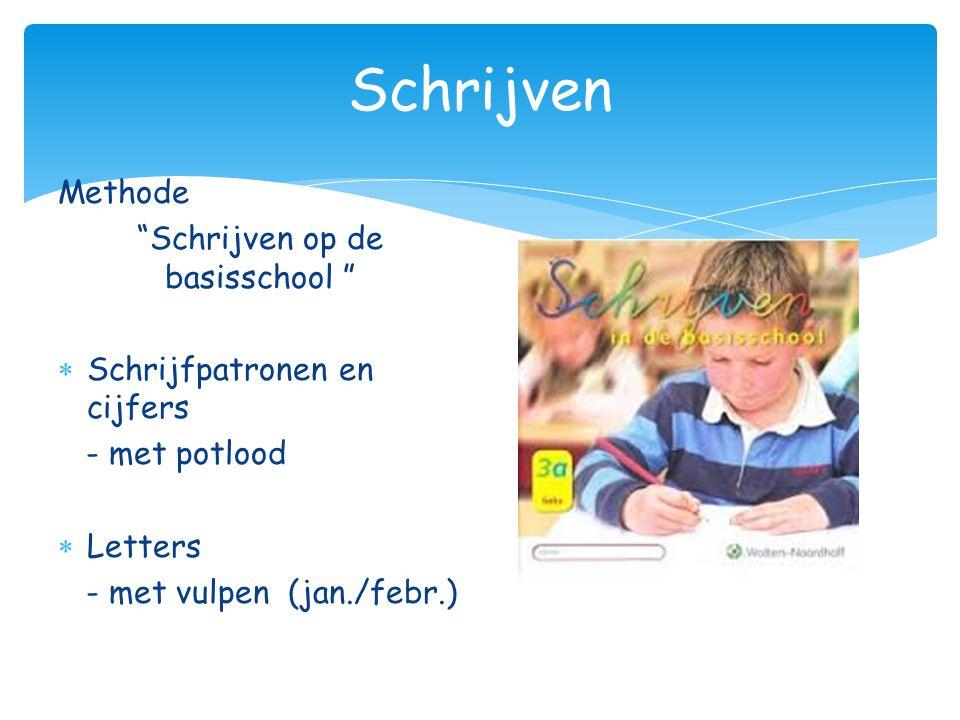 """Schrijven Methode """"Schrijven op de basisschool """"  Schrijfpatronen en cijfers - met potlood  Letters - met vulpen (jan./febr.)"""