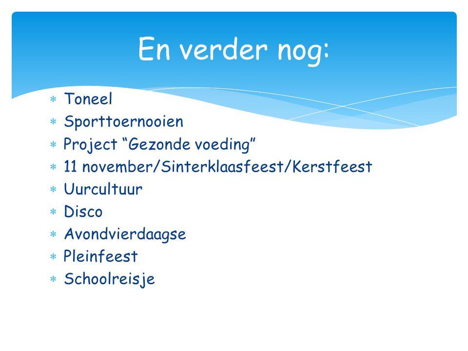 " Toneel  Sporttoernooien  Project ""Gezonde voeding""  11 november/Sinterklaasfeest/Kerstfeest  Uurcultuur  Disco  Avondvierdaagse  Pleinfeest "