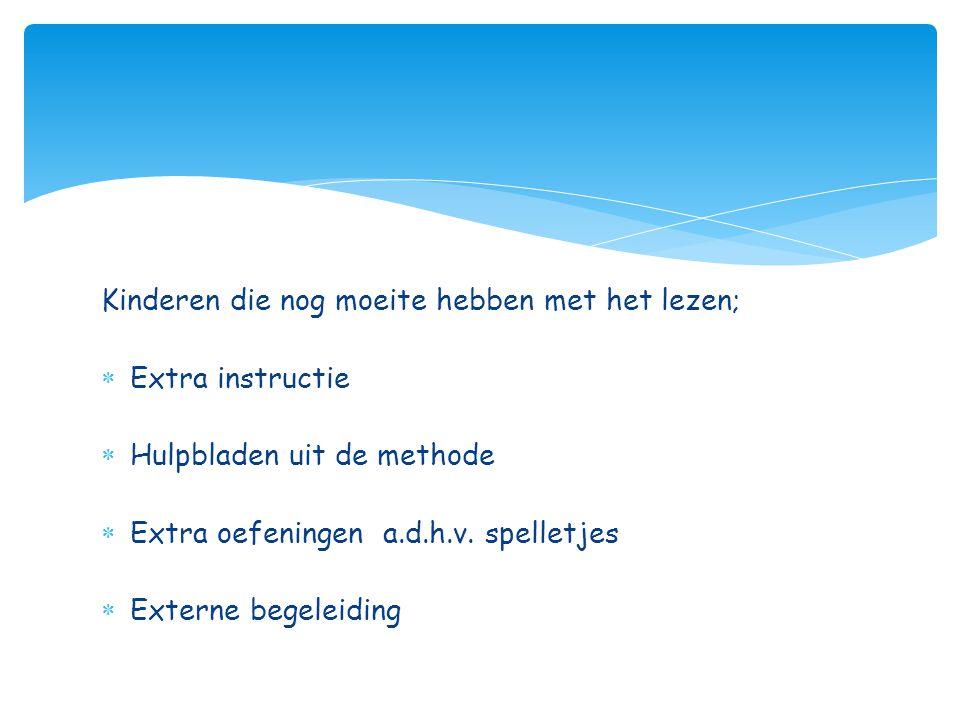 Kinderen die nog moeite hebben met het lezen;  Extra instructie  Hulpbladen uit de methode  Extra oefeningen a.d.h.v. spelletjes  Externe begeleid