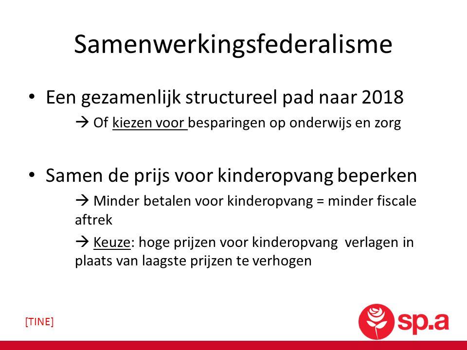 Samenwerkingsfederalisme Een gezamenlijk structureel pad naar 2018  Of kiezen voor besparingen op onderwijs en zorg Samen de prijs voor kinderopvang