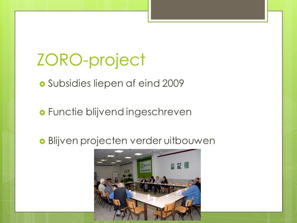 ZORO-project  Subsidies liepen af eind 2009  Functie blijvend ingeschreven  Blijven projecten verder uitbouwen