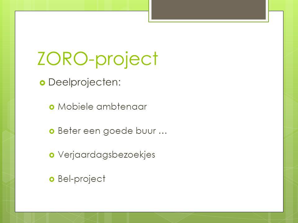 ZORO-project  Deelprojecten:  Mobiele ambtenaar  Beter een goede buur …  Verjaardagsbezoekjes  Bel-project