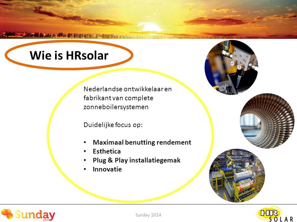 Sunday 2014 Conclusie Combineer PV en zonthermisch Beter benutten rendement collectoren Niet compenseren maar besparen Verdere integratie met systemen Maak opbrengst inzichtelijk Maar bekijk ook de opties met bv.