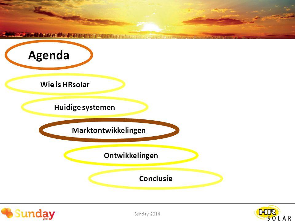 Sunday 2014 Marktontwikkelingen Energierevolutie / investeringsmarkt Aanscherping bouwbesluit / renovatie Esthetiek belangrijker Bewustwording energieverbruik Optimalisatie van rendementen Integratie van systemen