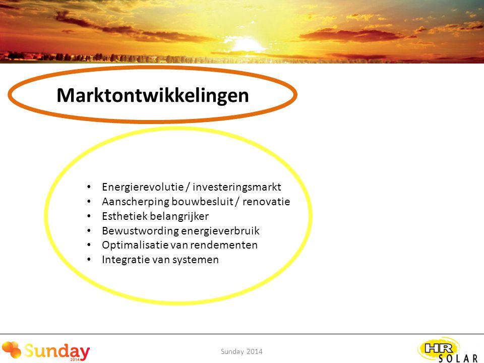 Sunday 2014 Marktontwikkelingen Energierevolutie / investeringsmarkt Van investering voor het milieu Naar … Investering voor het rendement … Oh ja, en leuk dat het bijdraagt aan een beter milieu