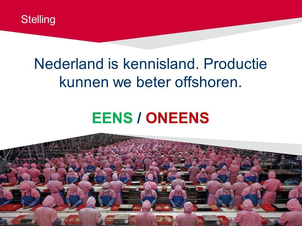 Stelling Nederland is kennisland. Productie kunnen we beter offshoren. EENS / ONEENS