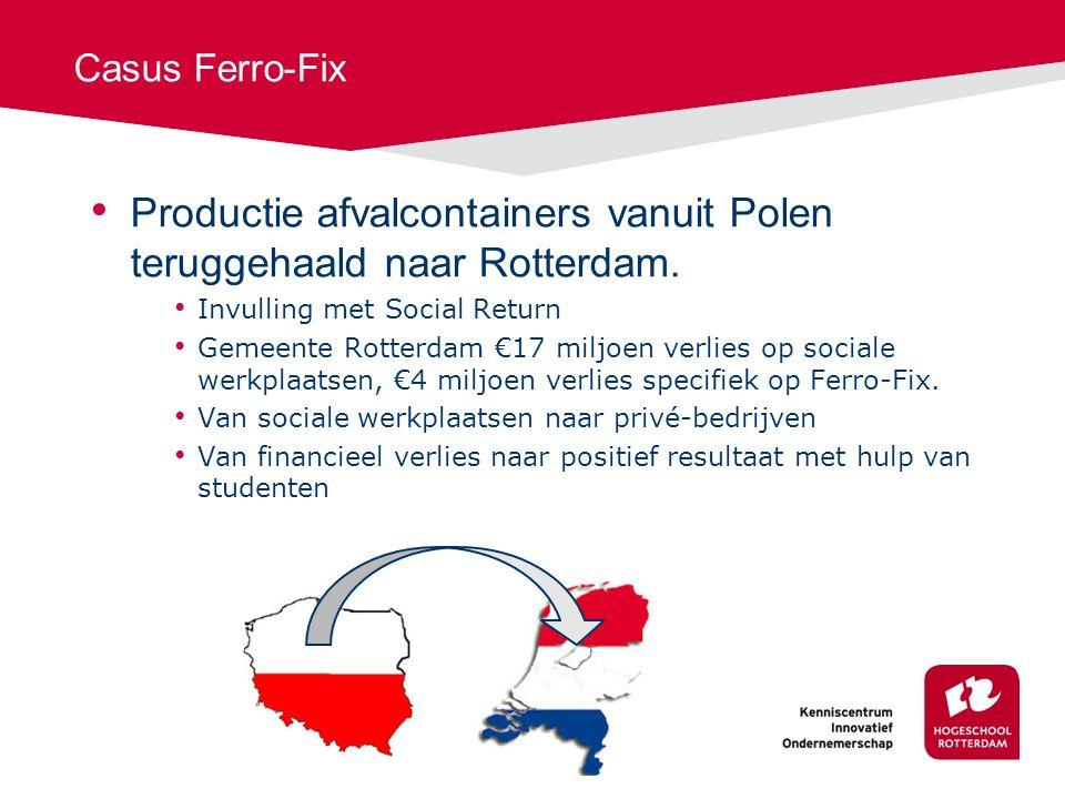 Casus Ferro-Fix Productie afvalcontainers vanuit Polen teruggehaald naar Rotterdam.