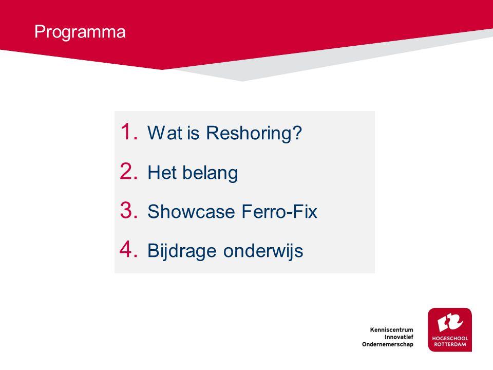 Programma 1. Wat is Reshoring? 2. Het belang 3. Showcase Ferro-Fix 4. Bijdrage onderwijs