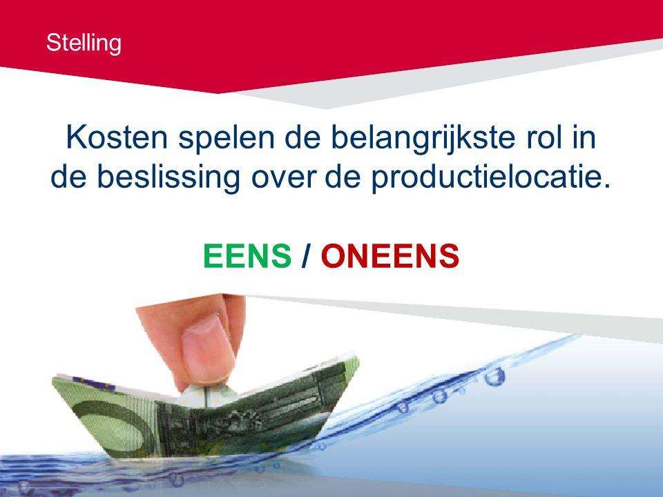 Stelling Kosten spelen de belangrijkste rol in de beslissing over de productielocatie.