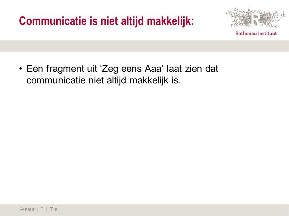 12 september 2007 Communicatie is niet altijd makkelijk: Auteur | 2 | Titel Een fragment uit 'Zeg eens Aaa' laat zien dat communicatie niet altijd makkelijk is.