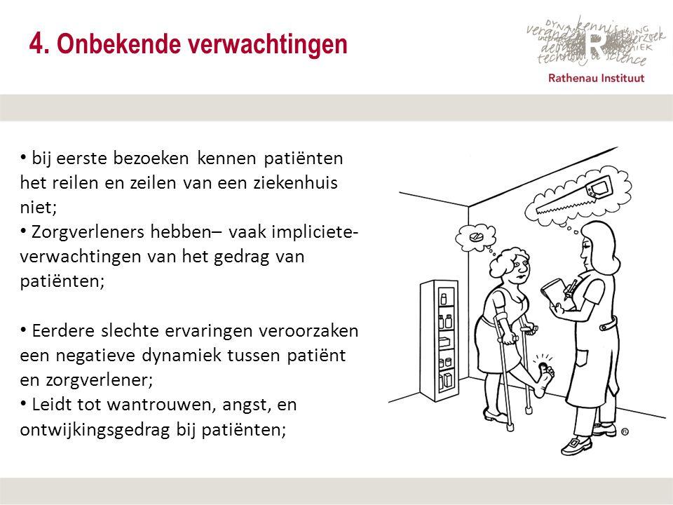 12 september 2007 4. Onbekende verwachtingen bij eerste bezoeken kennen patiënten het reilen en zeilen van een ziekenhuis niet; Zorgverleners hebben–