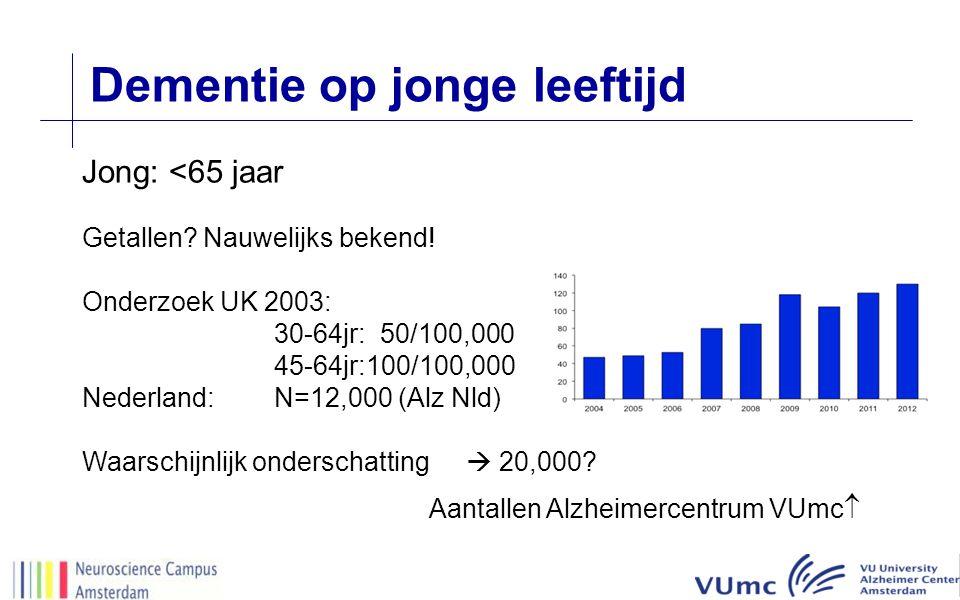 Dementie op jonge leeftijd Jong: <65 jaar Getallen? Nauwelijks bekend! Onderzoek UK 2003: 30-64jr: 50/100,000 45-64jr:100/100,000 Nederland:N=12,000 (