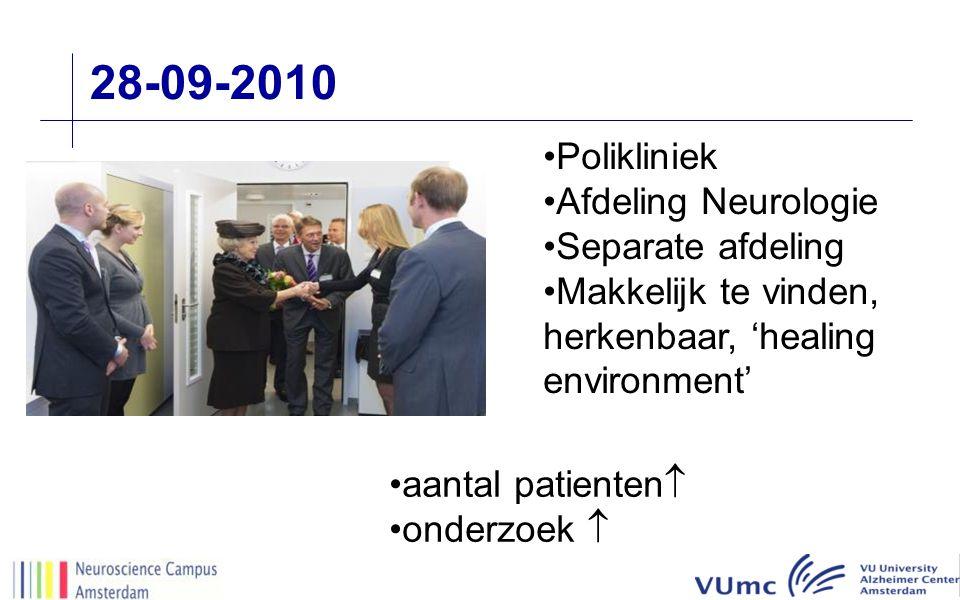 28-09-2010 aantal patienten  onderzoek  Polikliniek Afdeling Neurologie Separate afdeling Makkelijk te vinden, herkenbaar, 'healing environment'