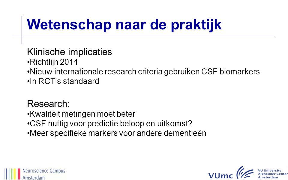 Wetenschap naar de praktijk Klinische implicaties Richtlijn 2014 Nieuw internationale research criteria gebruiken CSF biomarkers In RCT's standaard Research: Kwaliteit metingen moet beter CSF nuttig voor predictie beloop en uitkomst.