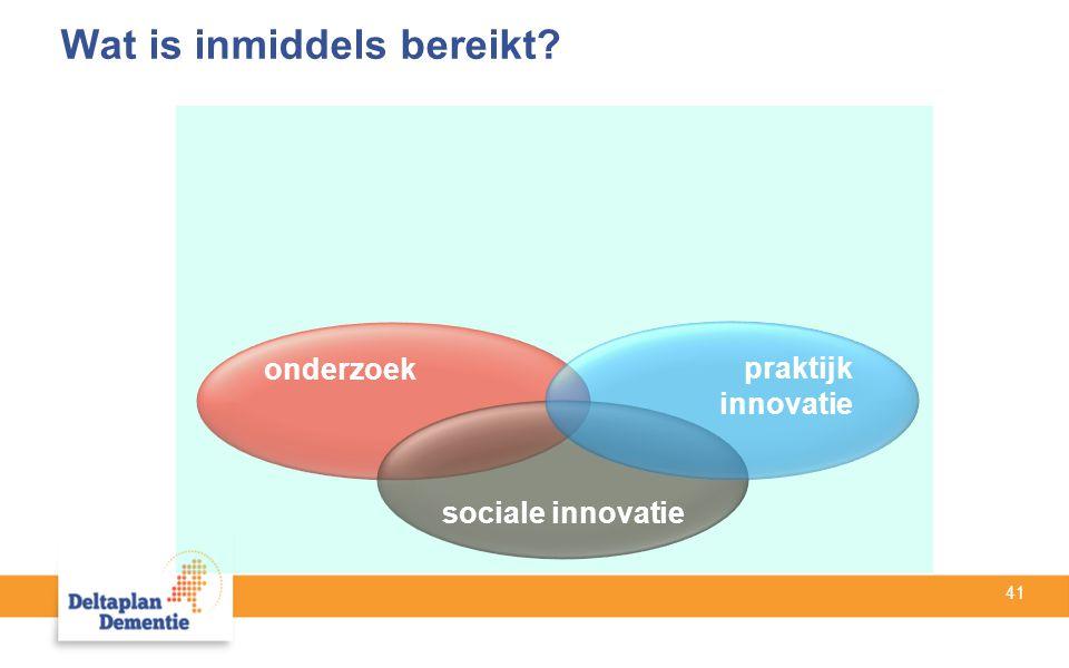 41 onderzoek sociale innovatie praktijk innovatie Wat is inmiddels bereikt?