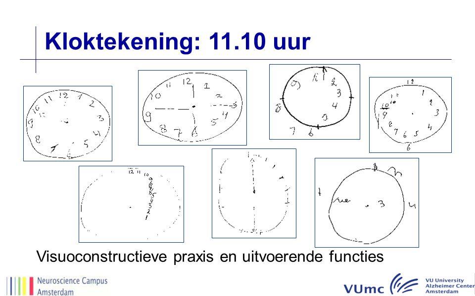 Visuoconstructieve praxis en uitvoerende functies Kloktekening: 11.10 uur
