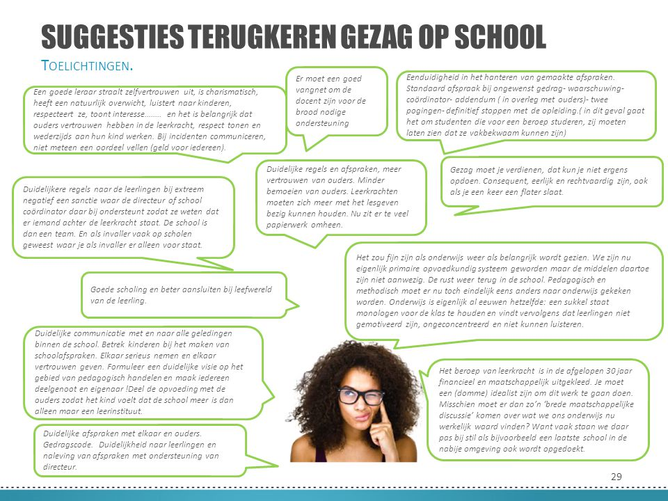 29 SUGGESTIES TERUGKEREN GEZAG OP SCHOOL T OELICHTINGEN. Duidelijke communicatie met en naar alle geledingen binnen de school. Betrek kinderen bij het