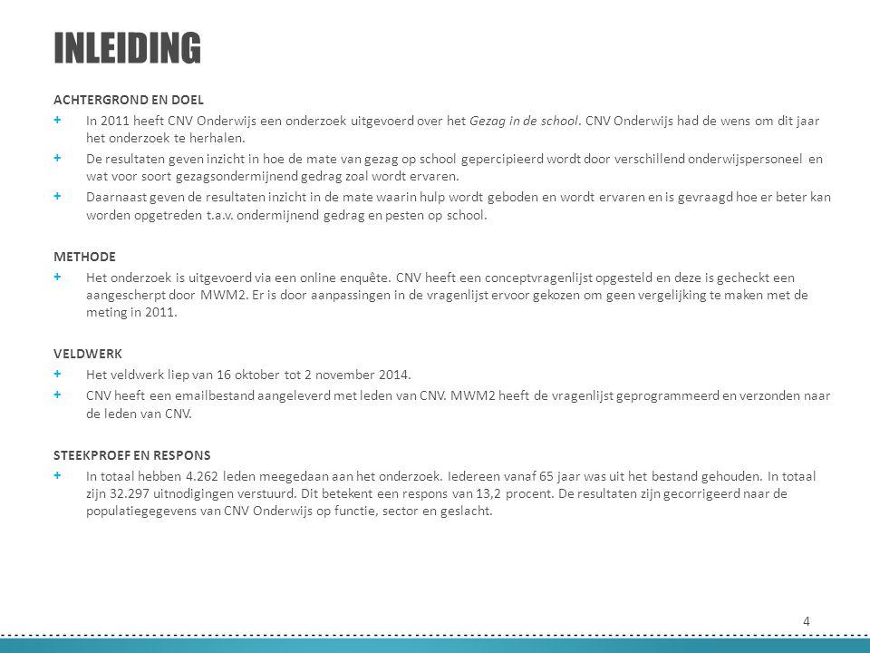 4 ACHTERGROND EN DOEL + In 2011 heeft CNV Onderwijs een onderzoek uitgevoerd over het Gezag in de school. CNV Onderwijs had de wens om dit jaar het on
