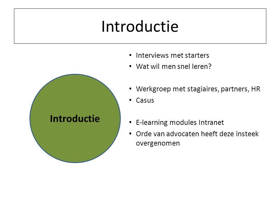 Introductie Interviews met starters Wat wil men snel leren? Werkgroep met stagiaires, partners, HR Casus E-learning modules Intranet Orde van advocate