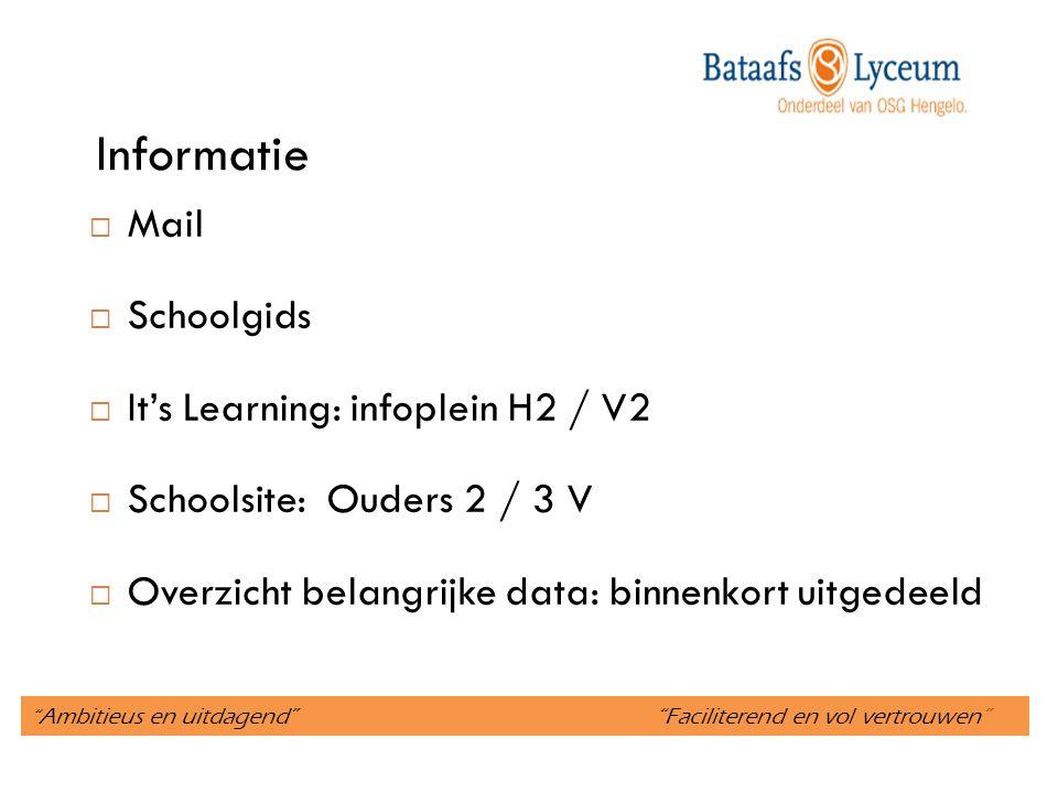 """"""" Ambitieus en uitdagend"""" """"Faciliterend en vol vertrouwen"""" Informatie  Mail  Schoolgids  It's Learning: infoplein H2 / V2  Schoolsite: Ouders 2 /"""