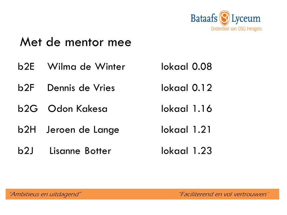""""""" Ambitieus en uitdagend"""" """"Faciliterend en vol vertrouwen"""" Met de mentor mee b2E Wilma de Winterlokaal 0.08 b2F Dennis de Vrieslokaal 0.12 b2G Odon Ka"""