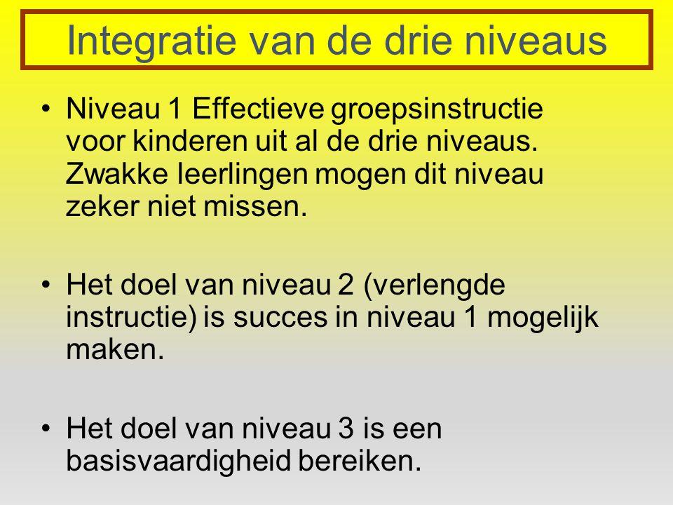 Integratie van de drie niveaus Niveau 1 Effectieve groepsinstructie voor kinderen uit al de drie niveaus. Zwakke leerlingen mogen dit niveau zeker nie
